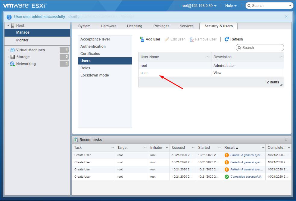 ESXi 7.0  добавление пользователя