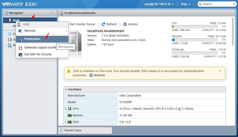 ESXi 7.0 добавление прав пользователю