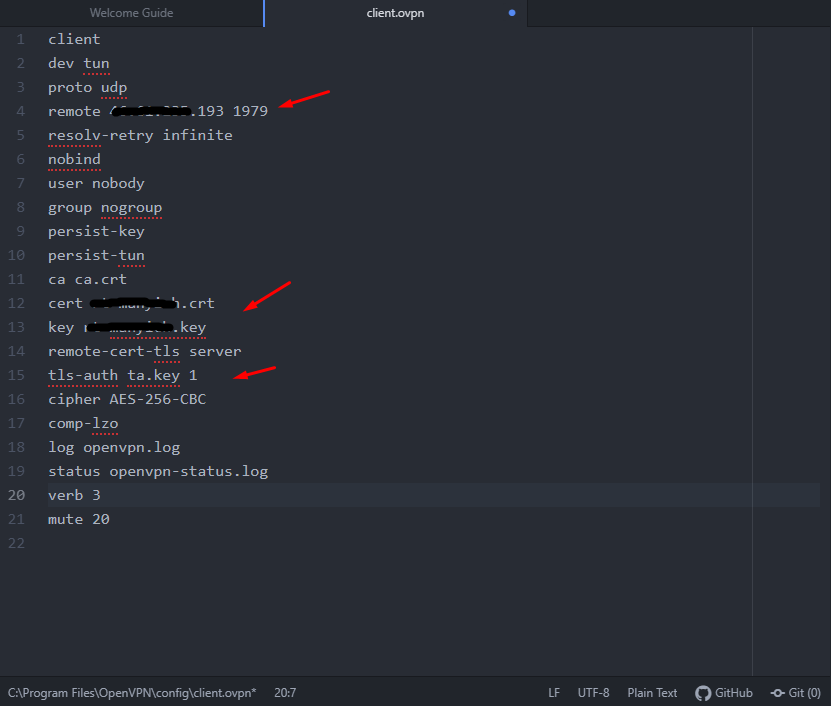 OpenVPN Client создание файла конфигурации