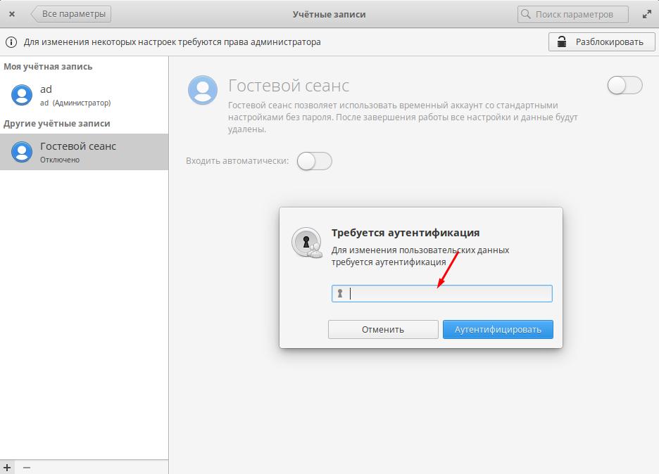 Elementary OS настройка учетных записей