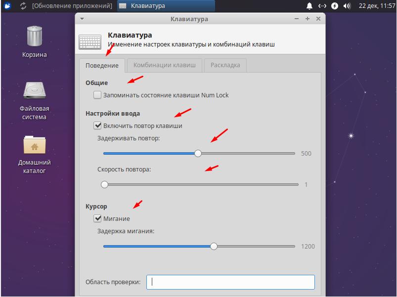 Xubuntu 20.04.1  настройка поведения клавиатры