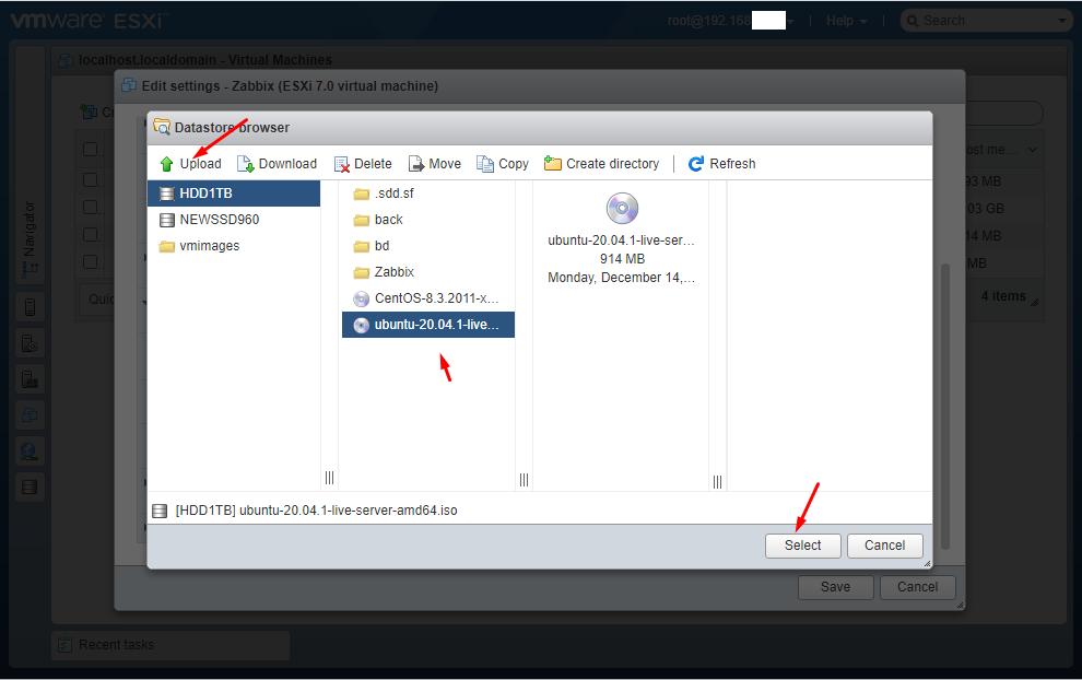 Как установить ОС на виртуальную машину в VMware Esxi 7.0