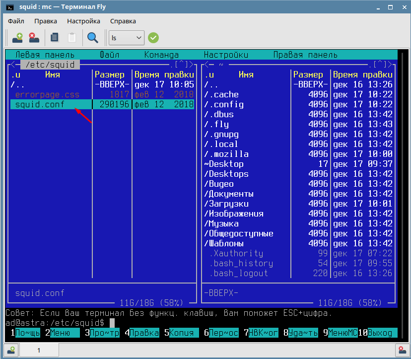 Где находиться config Squid в Astar Linux
