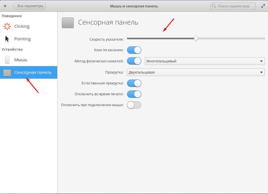 Elementary OS настройка сенсорной панели (тачскрина)