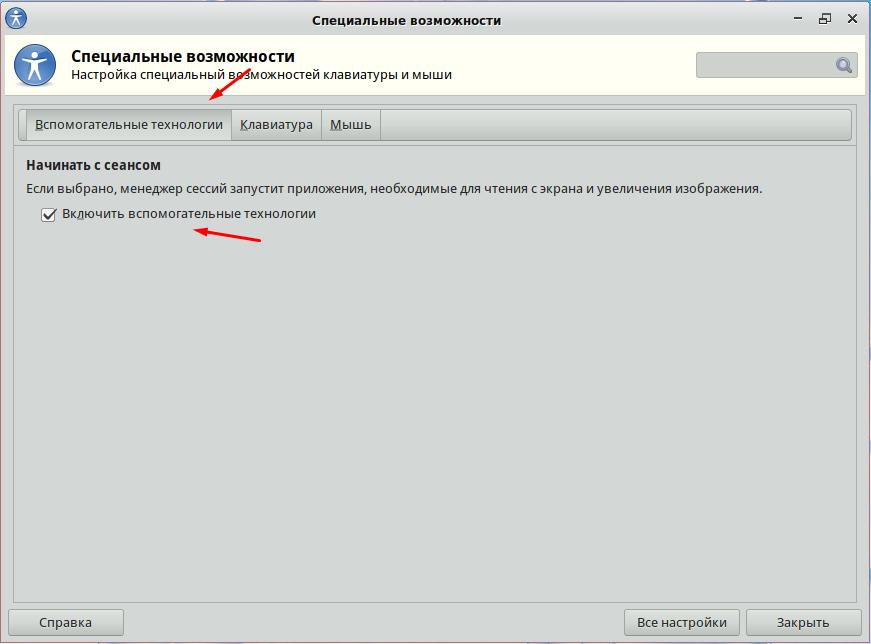 Специальные возможности Simply Linux 9