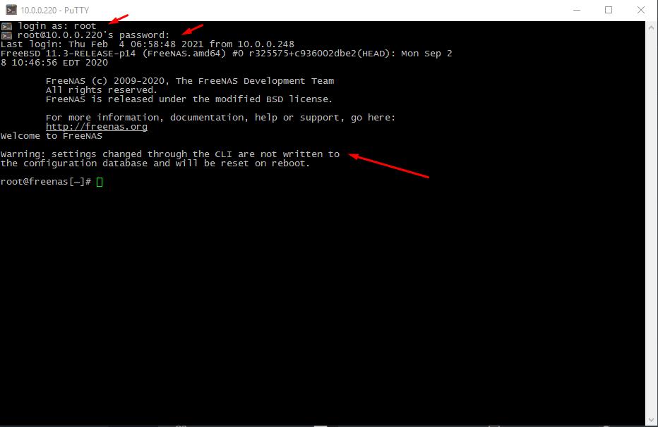 FreeNAS как подключиться по SSH