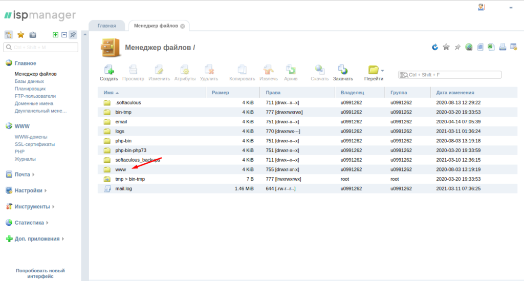 ISPmanager файлы