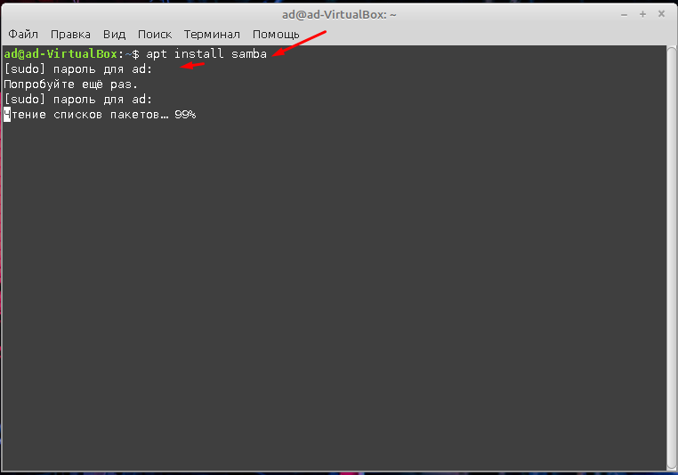 Linux Mint 20.1 samba установка