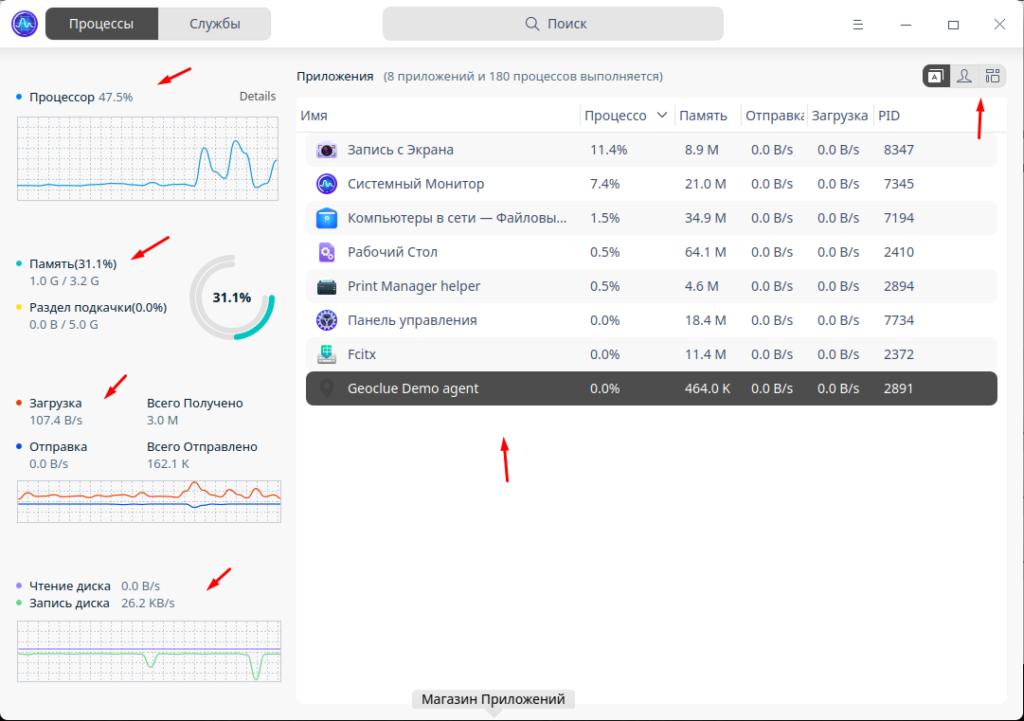 Deepin Desktop 20.2.1 системный монитор