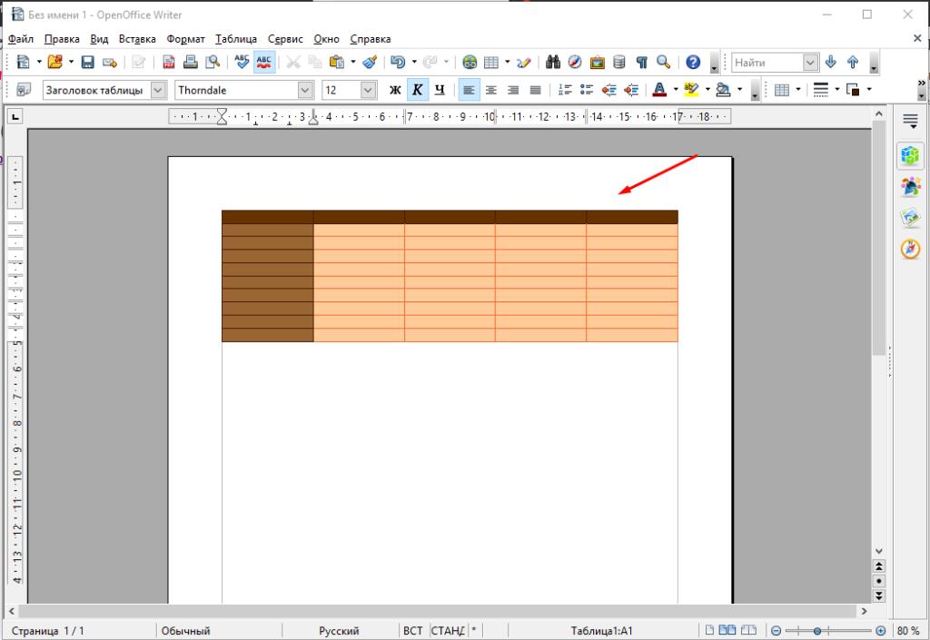 OpenOffice Write как добавить таблицу