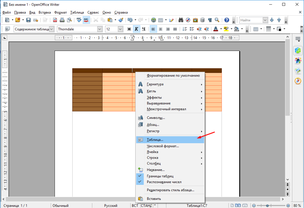 OpenOffice Write редактирование таблиц